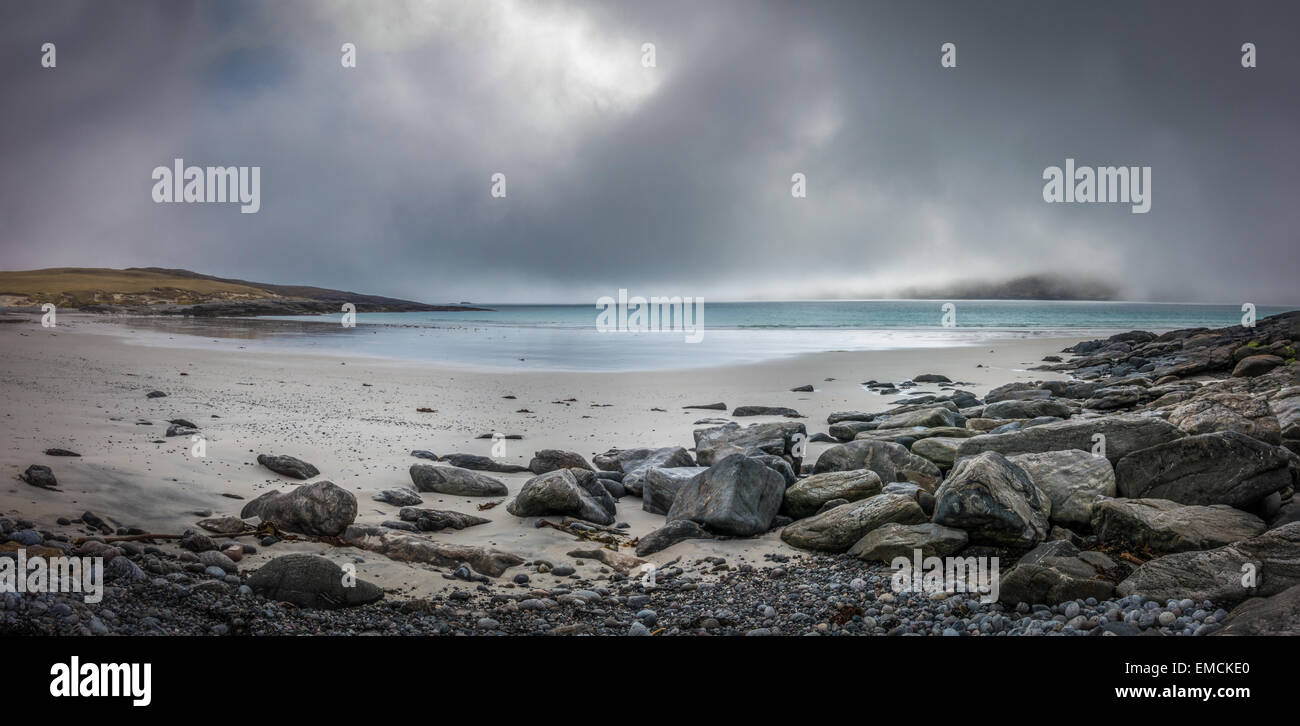 Vatersay island beaches walk in a lifting sea mist - Stock Image