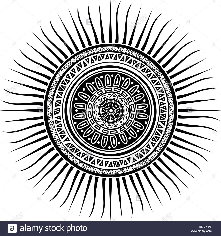 Mayan Sun Symbol Stock Vector Art Illustration Vector Image