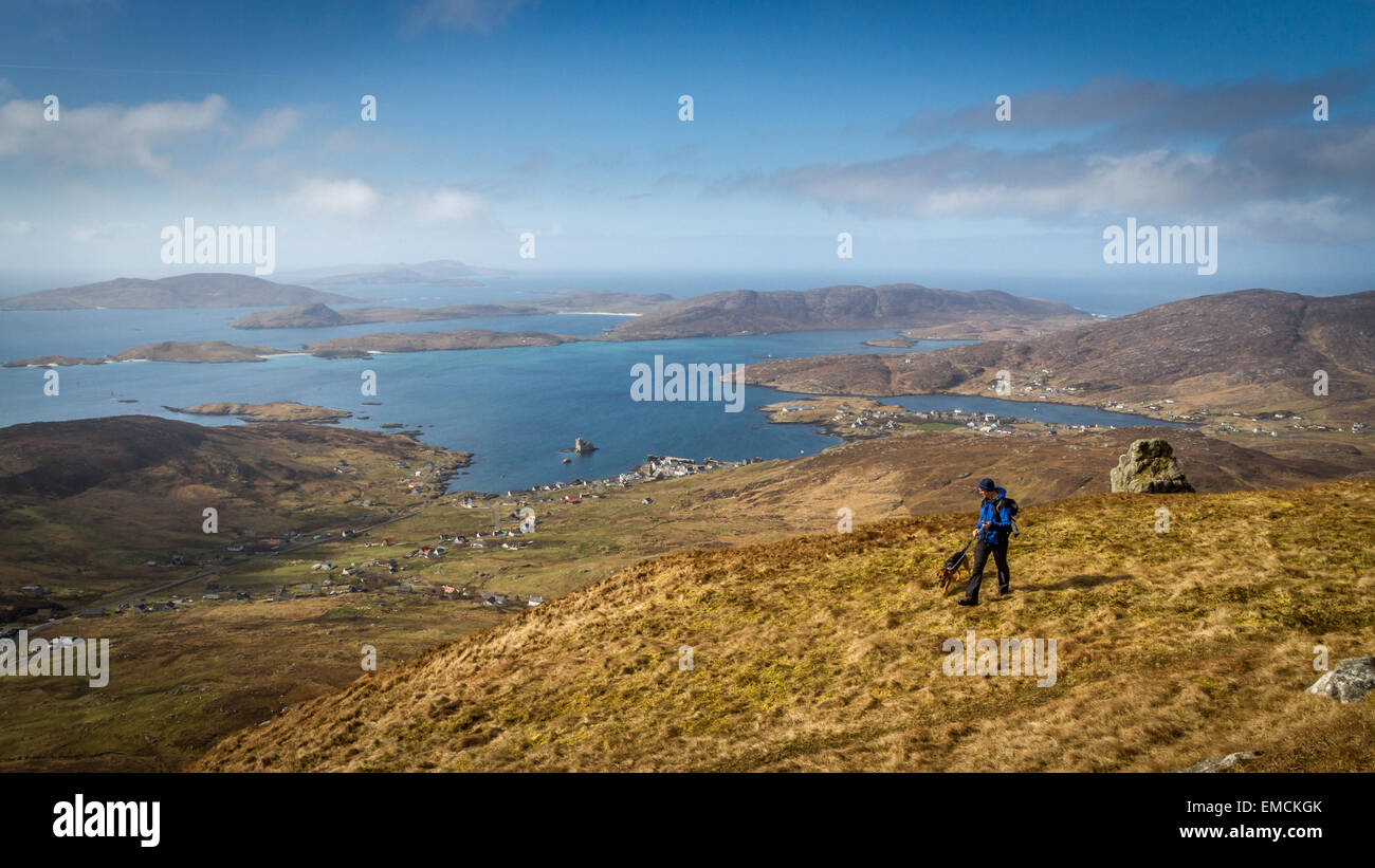 Striking views from Heaval on the Isle of Barra, looking over Castlebay and Vatersay in the Outer Hebrides - Stock Image