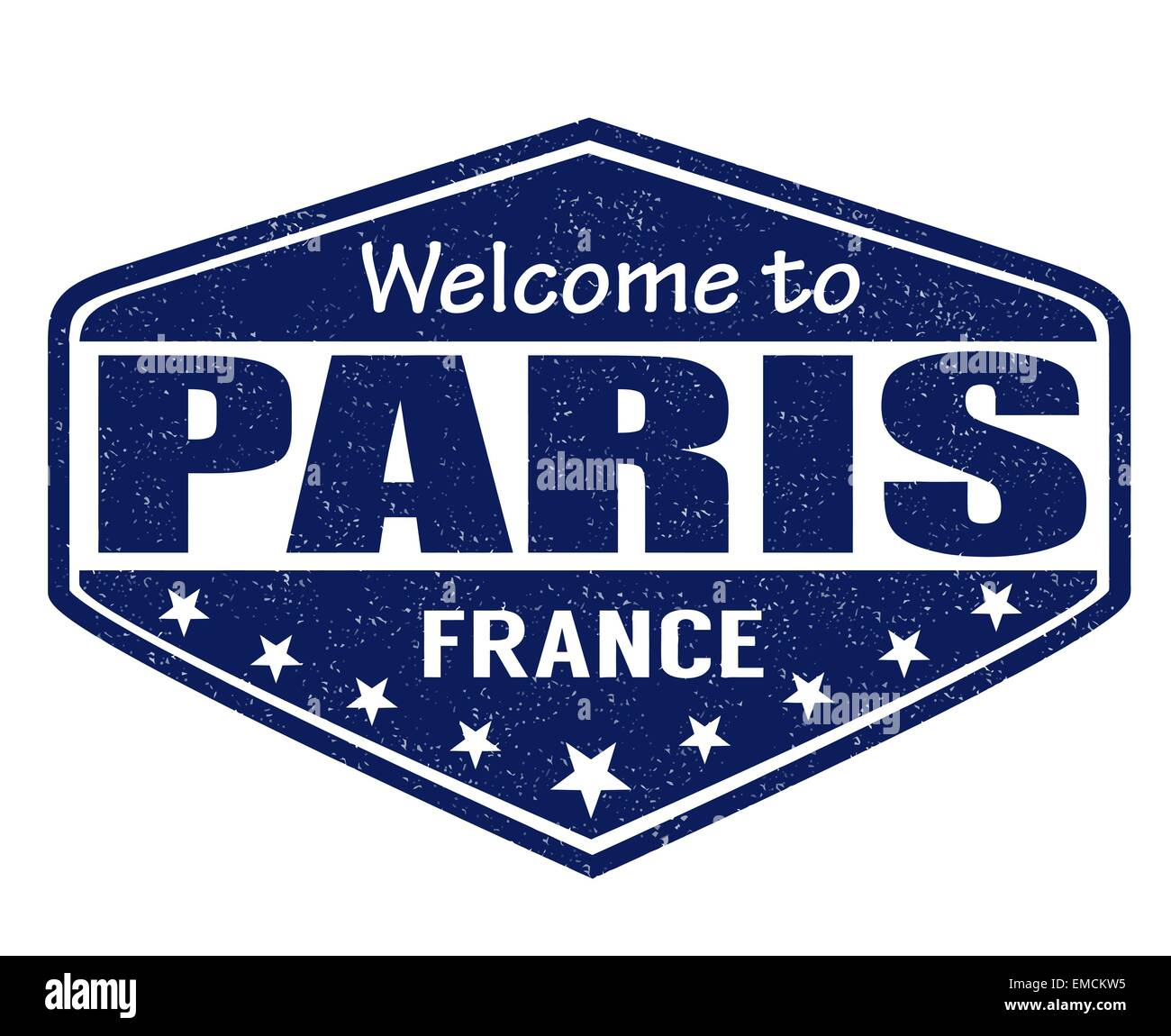Welcome to Paris stamp - Stock Image