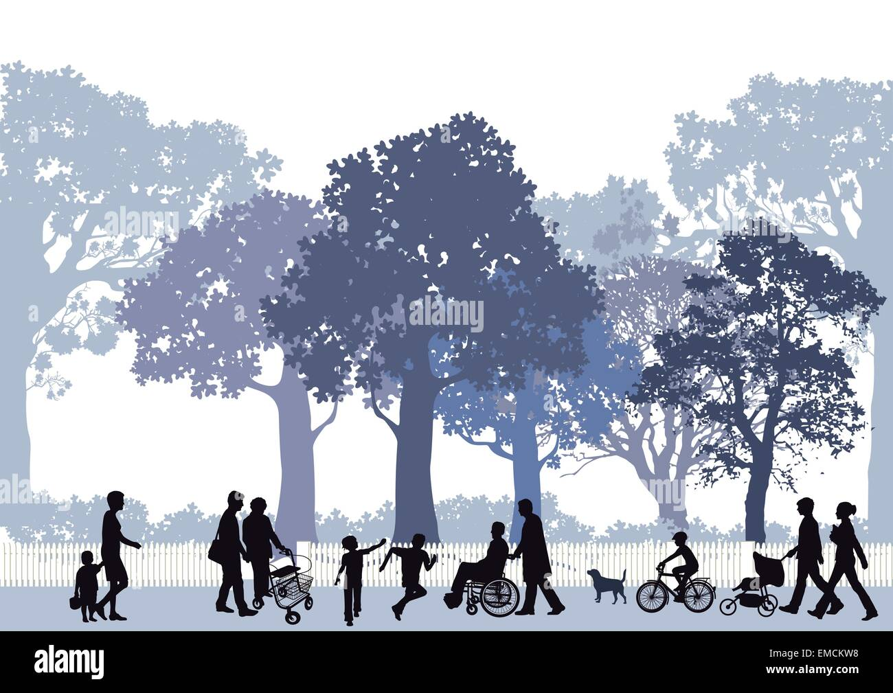 City park with people and children - Stock Vector