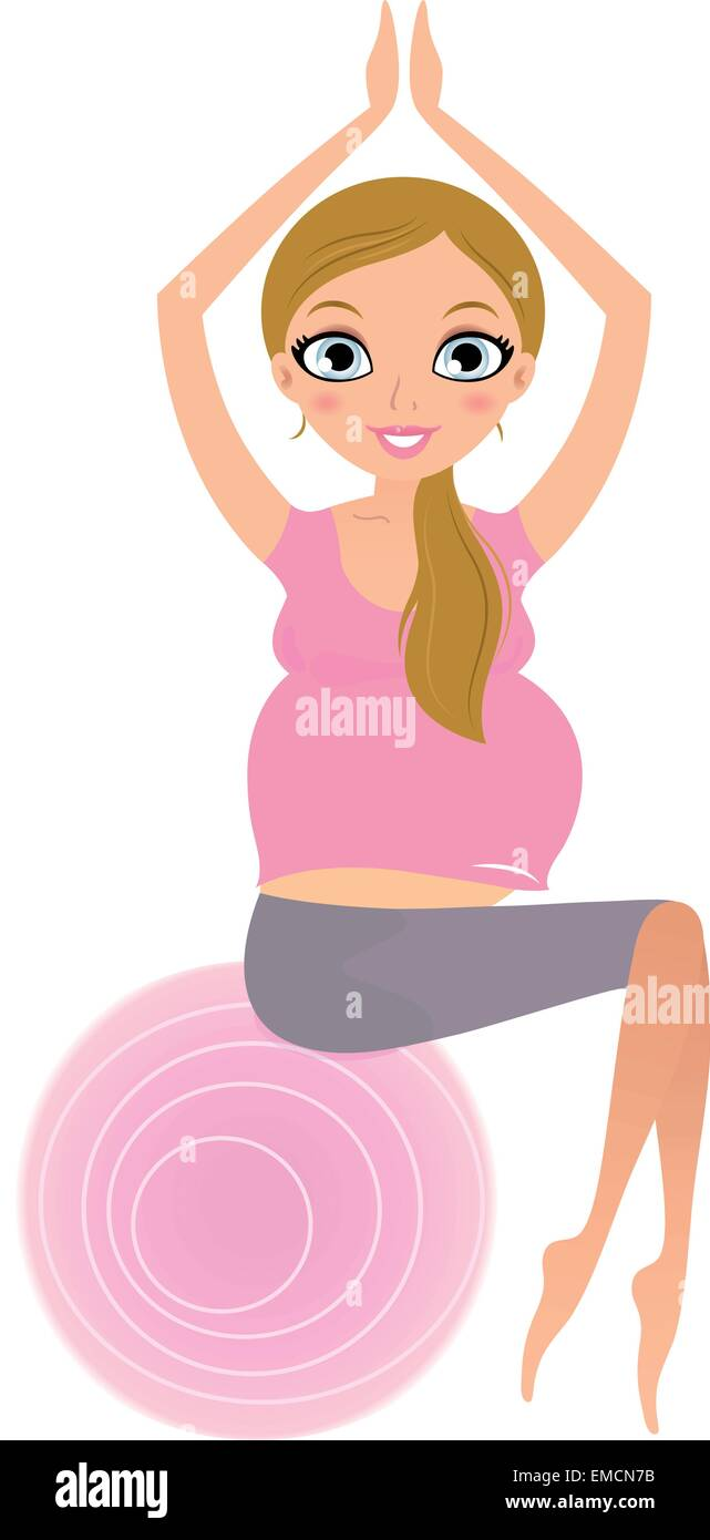 Beautiful Pregnant woman sitting on Pilates exercise ball - Stock Vector