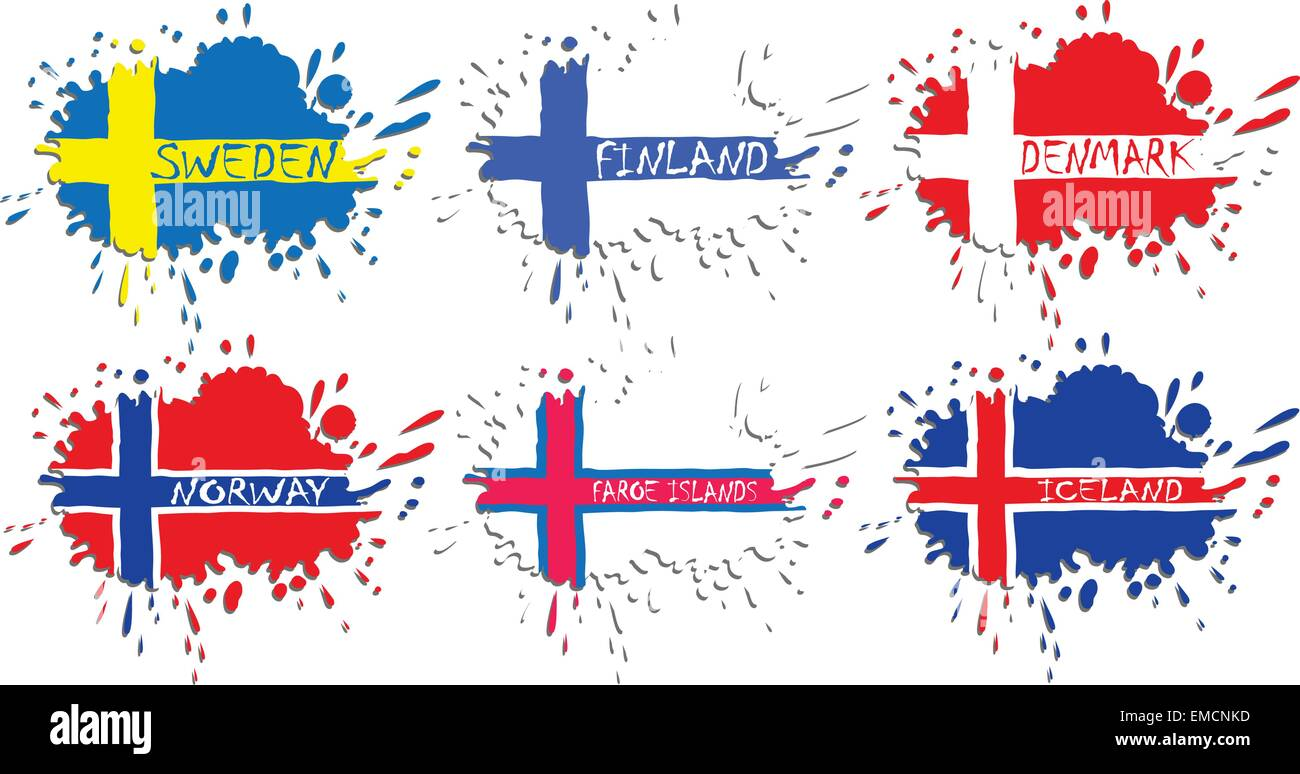 Scandinavian flags as spots Stock Vector