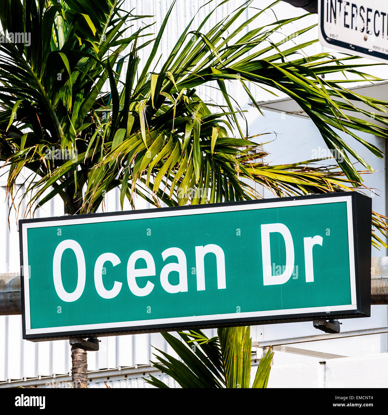 street sign of famous street Ocean Drive - Stock Image
