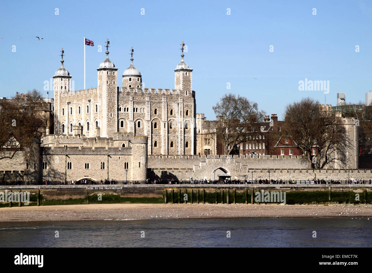 The Tower of London view from River Thames April 2015 - Stock Image