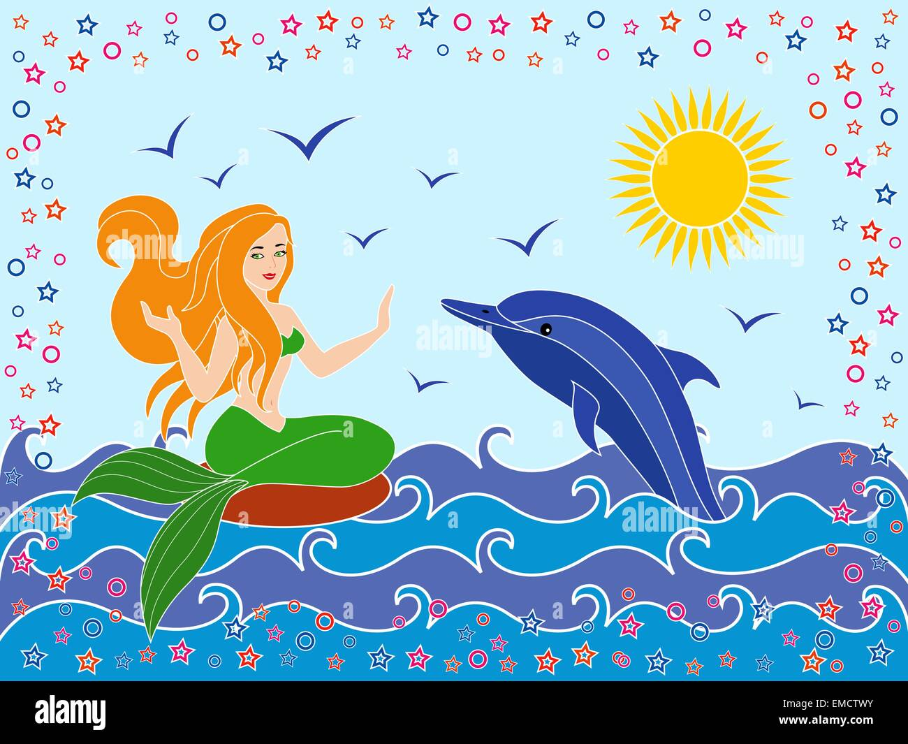 Dolphin and Mermaid in the sea waves - Stock Image