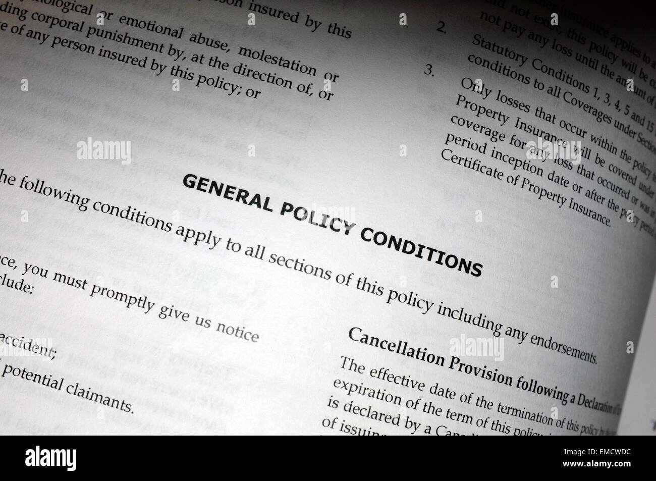 General policy conditions paperwork from an insurance company. - Stock Image