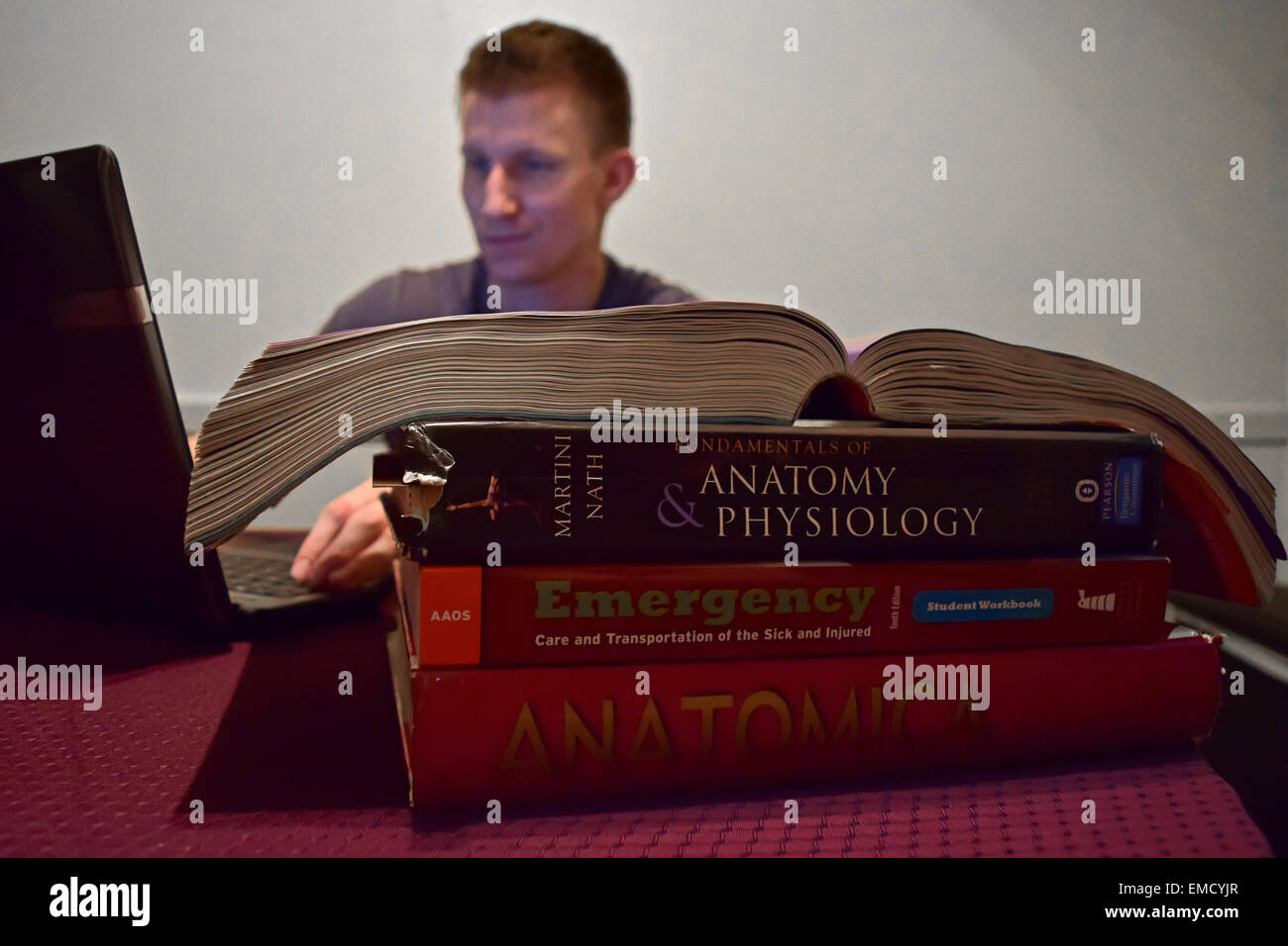 A college student studies for his exams. - Stock Image