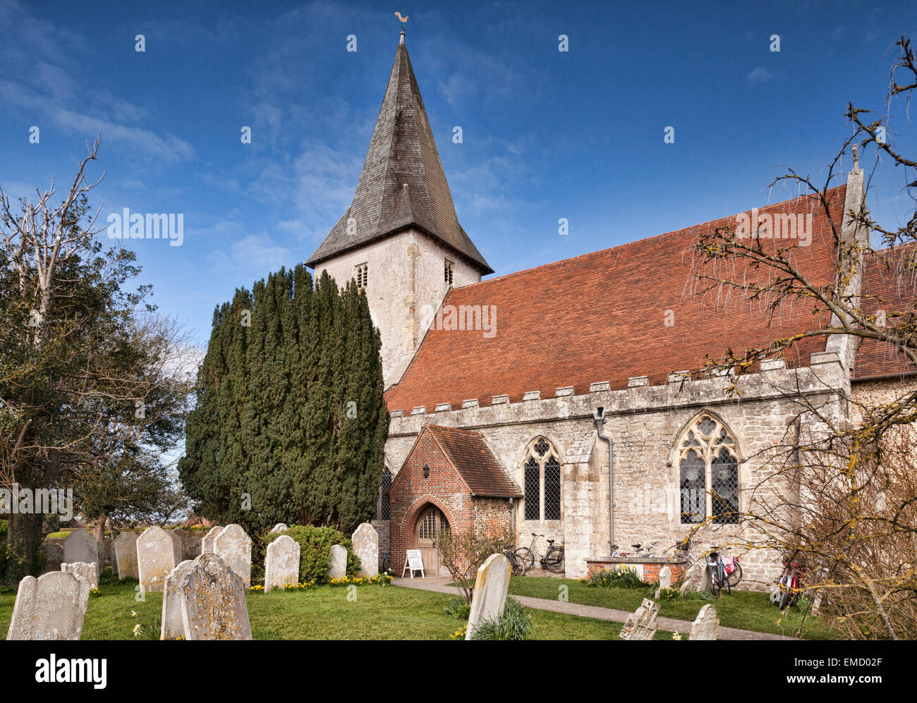 The 14th Century Holy Trinity Church, at Bosham, West Sussex, England - Stock Image