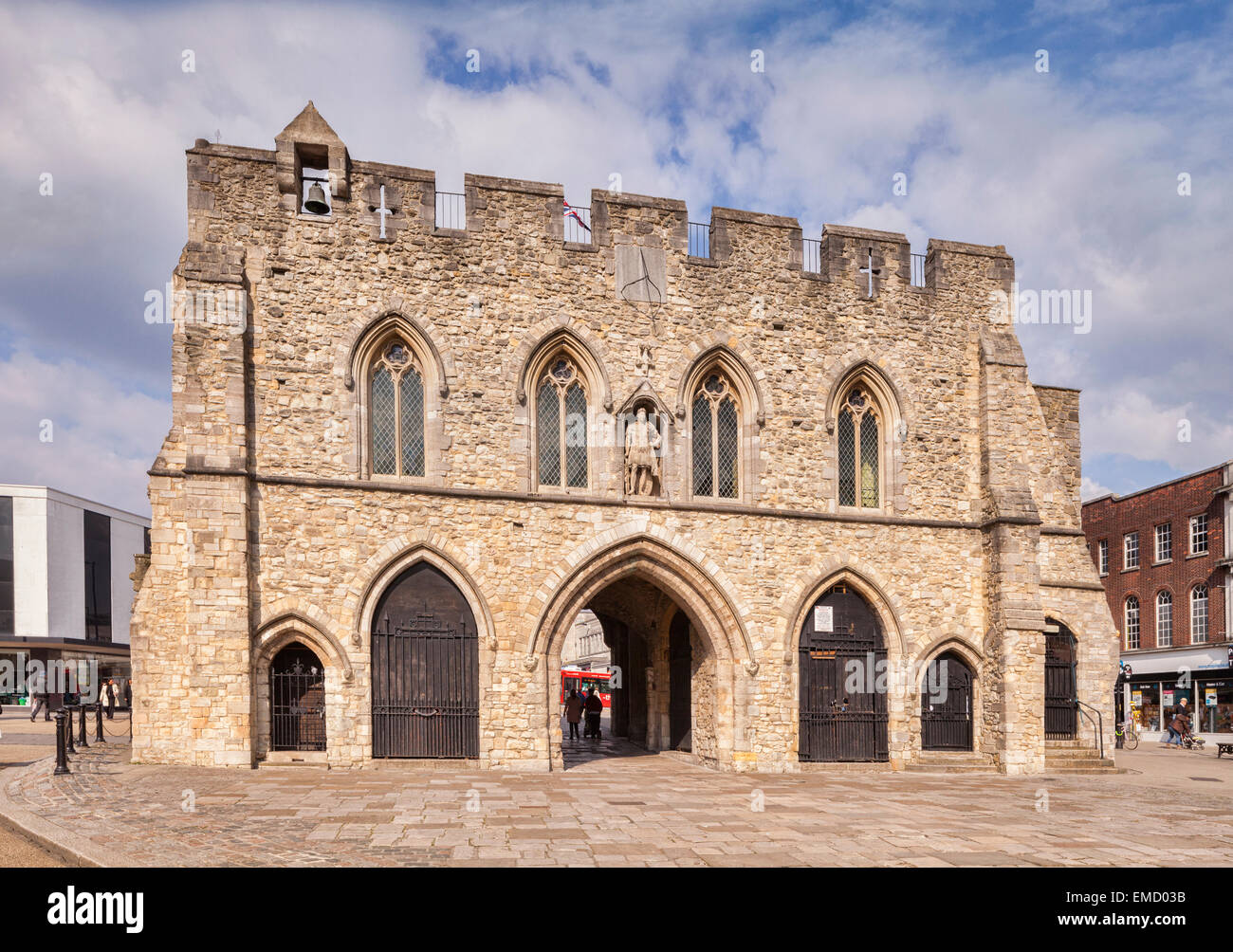 Bargate, a Grade 1 listed building in the centre of Southampton, constructed in Norman times as part of the city's - Stock Image