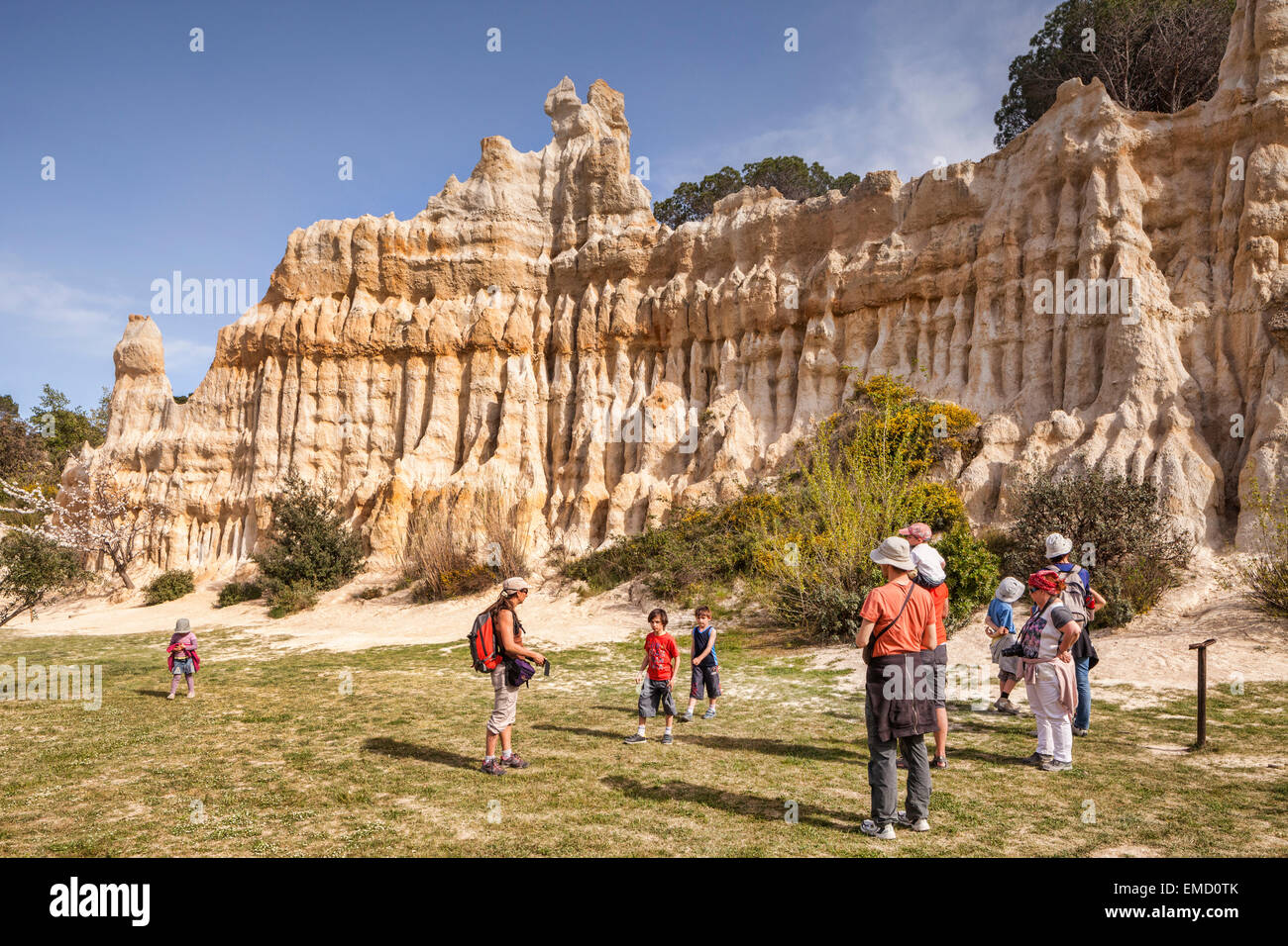Families visiting Les Orgues d'Ille sur Tet, Languedoc-Roussillon, Pyrenees-Orientales, France. - Stock Image