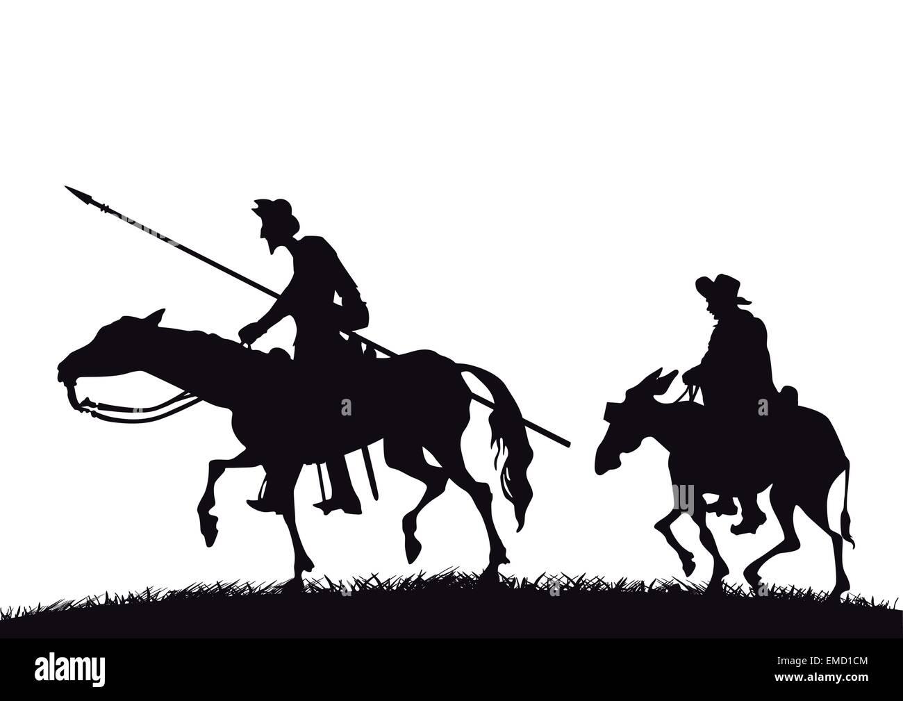Don Quixote and Sancho Panza - Stock Vector