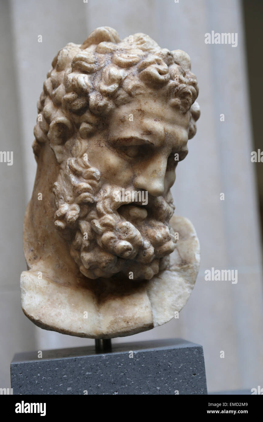 Head of Herakles. Roman copy. Imperial era. 1st c. AD. Copy of a Greek statue, attributed to Lysipos (4th c. BC). - Stock Image
