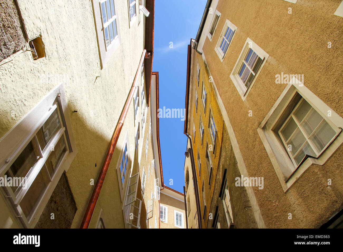 In between historic architecture in Salzburg, Austria, Europe. - Stock Image