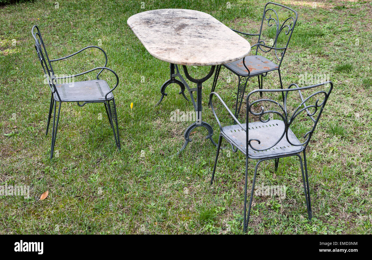 metal garden furniture stock photos metal garden furniture stock