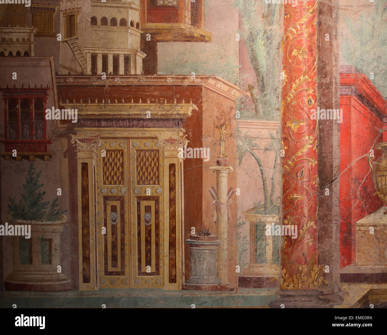 Roman Wall Painting. 50-40 BC. Second Style. Colored architectural scenes. Villa of P. Fannius Synistor at Boscoreale, Stock Photo