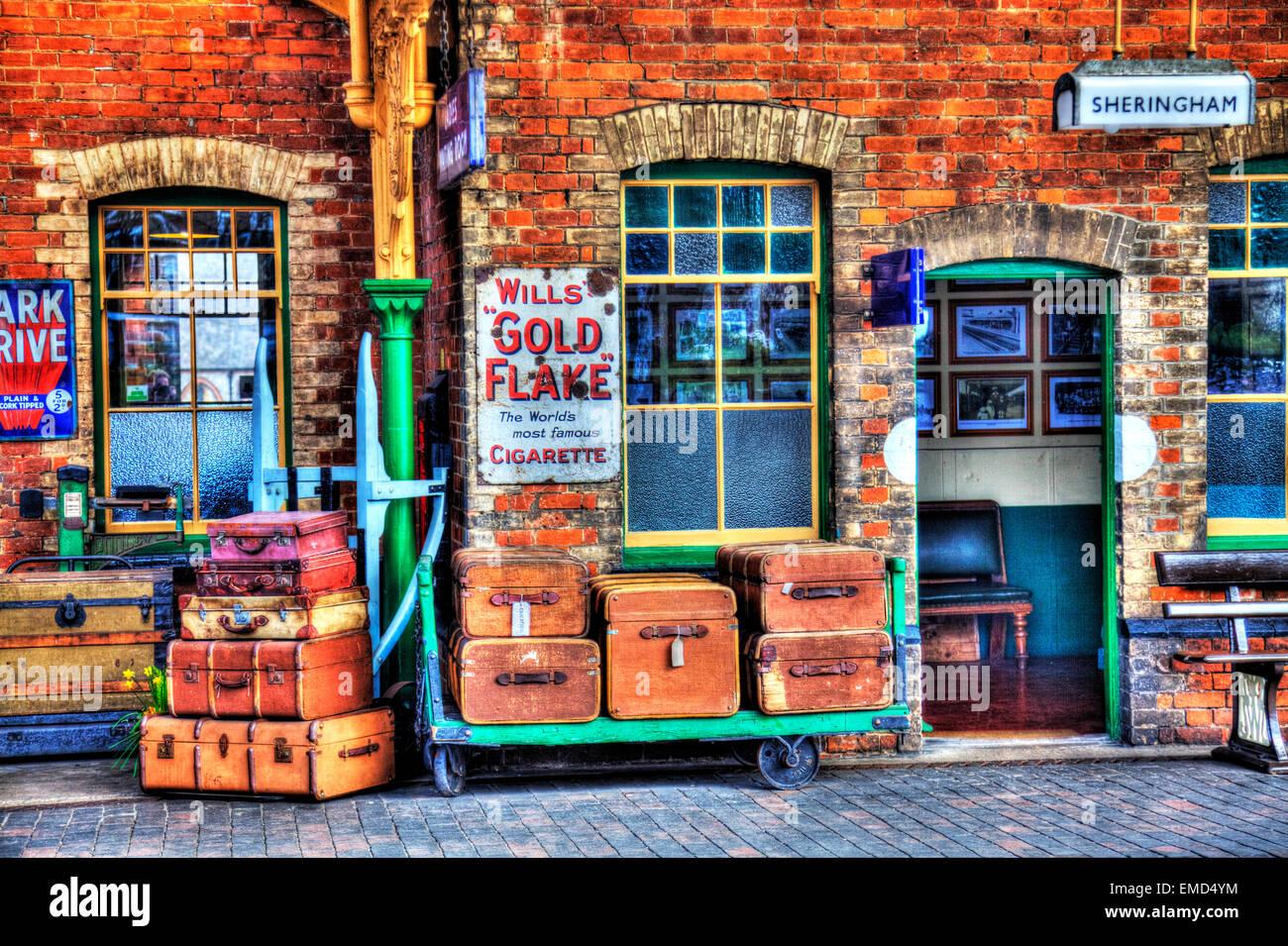 Sheringham North Norfolk UK England luggage travel cases suitcases old nostalgic trunk - Stock Image