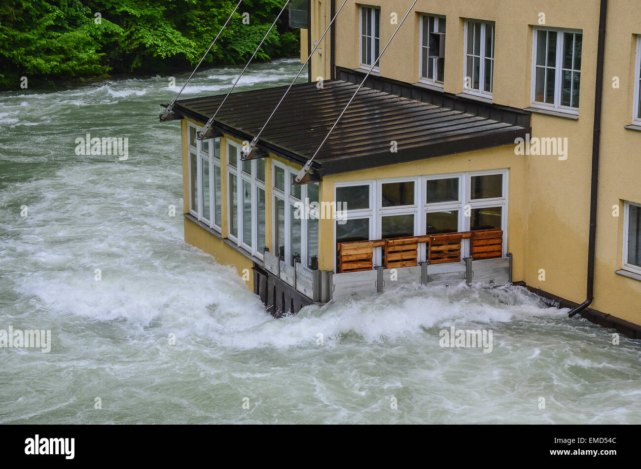 Gmund papermakers production site at the Mangfall river flooded - Stock Image