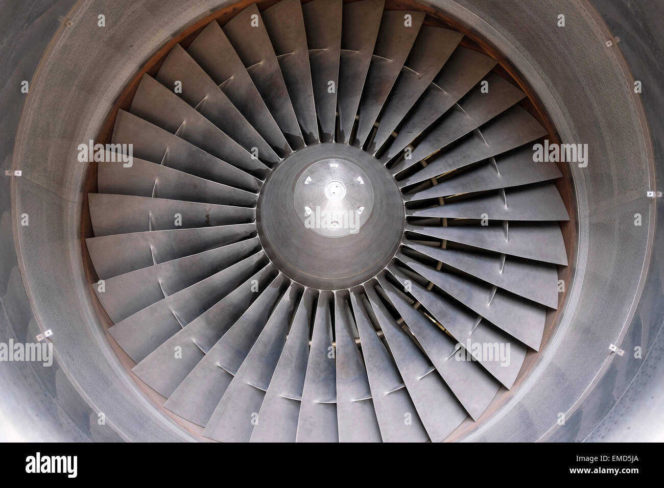 Looking into a Rolls Royce RB211 aero engine - Stock Image