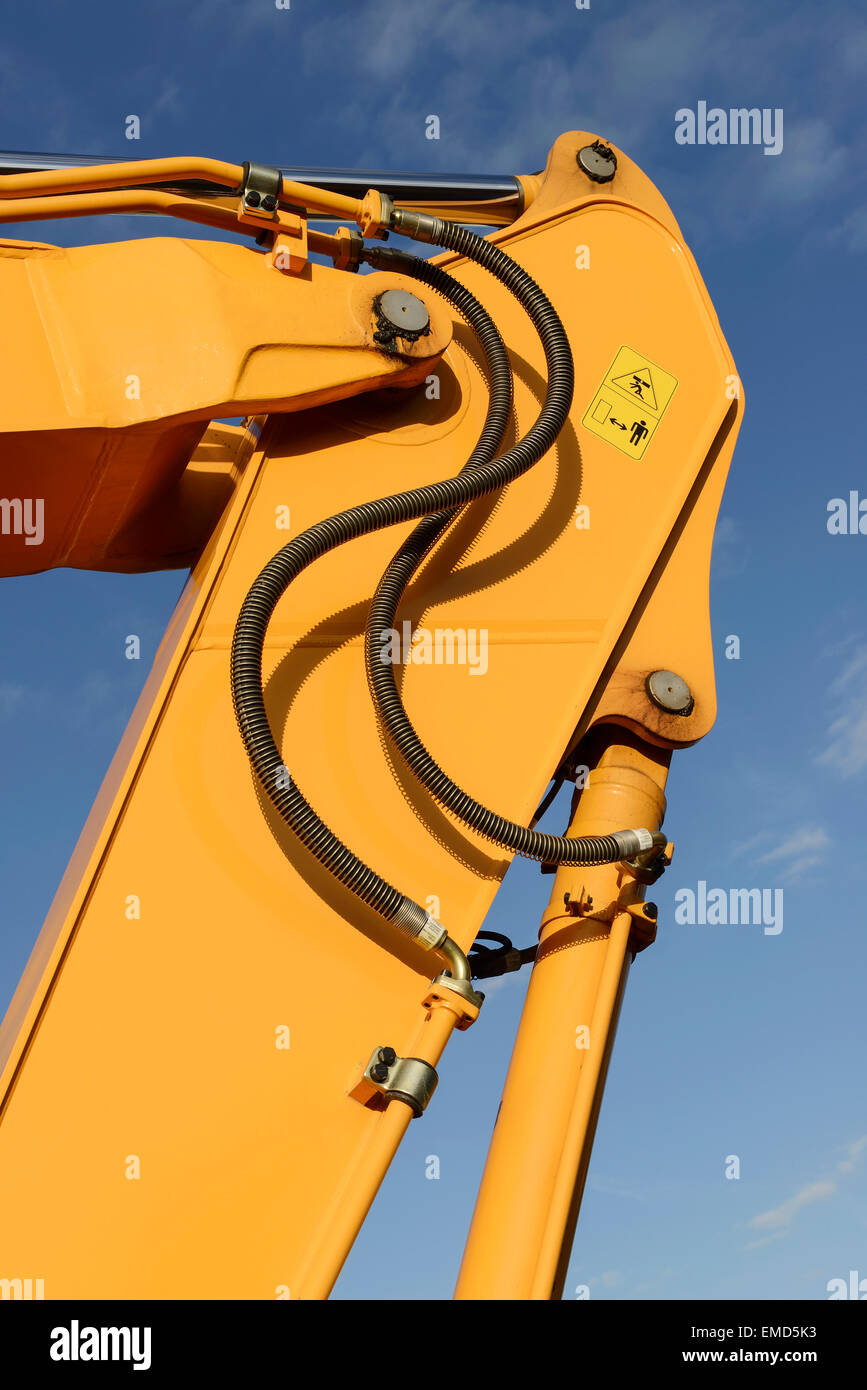Close up detail of the joint on a hydraulic digger jib - Stock Image