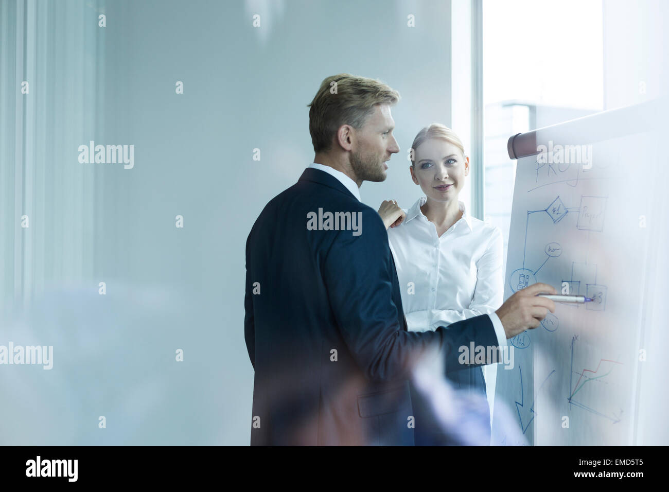 Business people discussing new strategies at flipchart - Stock Image