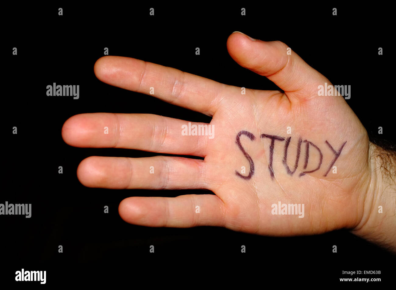 Study written on a white man's hand photographed against a black background. - Stock Image