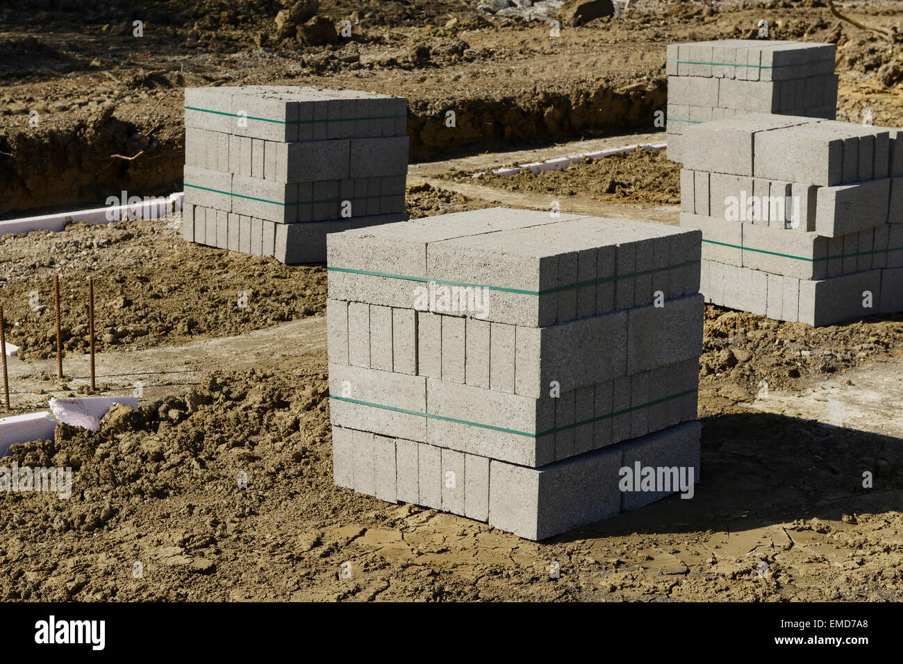 Block for a beam and block floor on a UK construction site - Stock Image