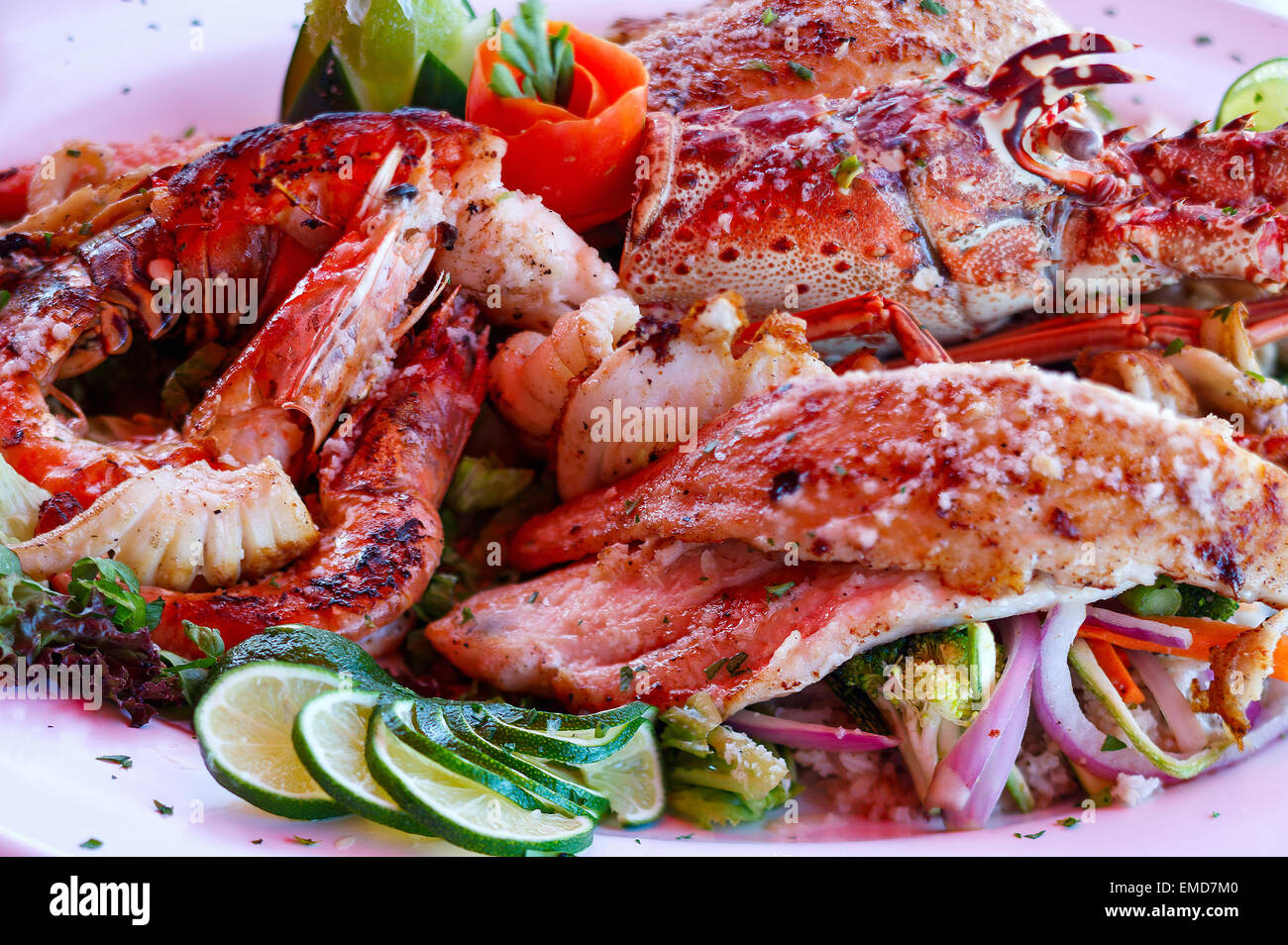 Grilled seafood platter - Stock Image