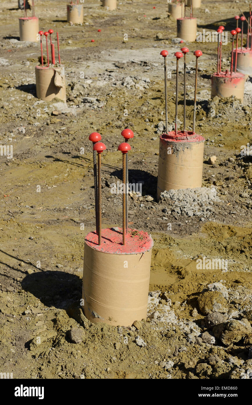 Cast in place concrete piles on a UK construction site - Stock Image
