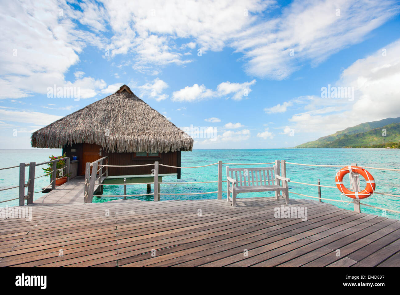 Over water bungalow - Stock Image