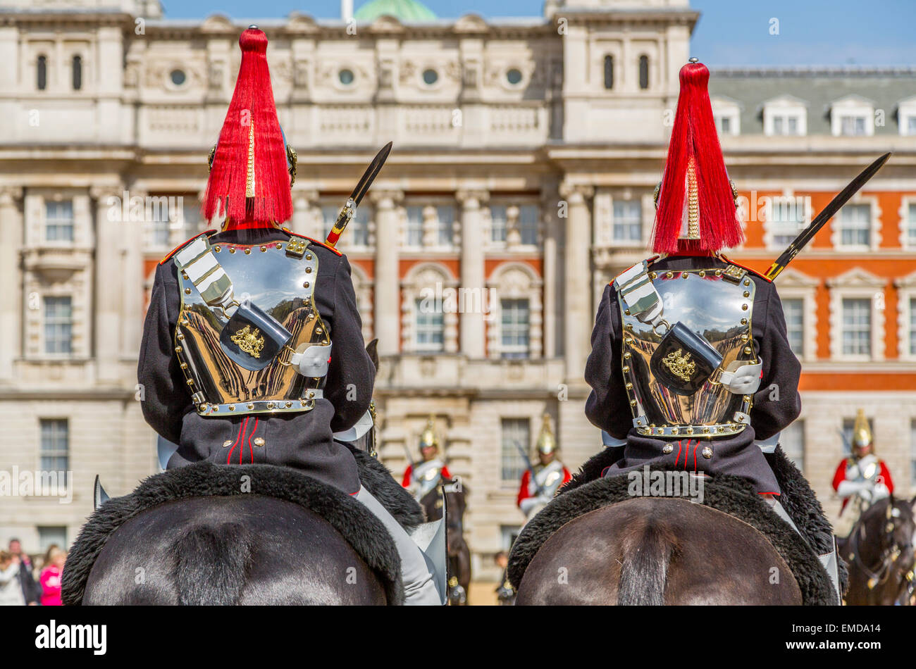 An image of the Blue & Royals on the Parade Ground at Horse Guards Parade, London England UK - Stock Image