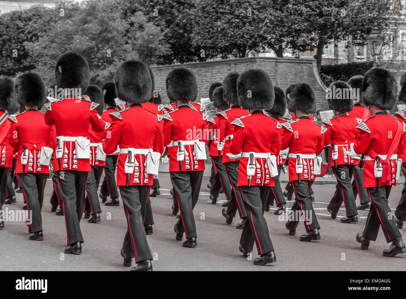 An image of The Regimental Band of the Coldstream Guards marching toward St James's Palace, London, England - Stock Image
