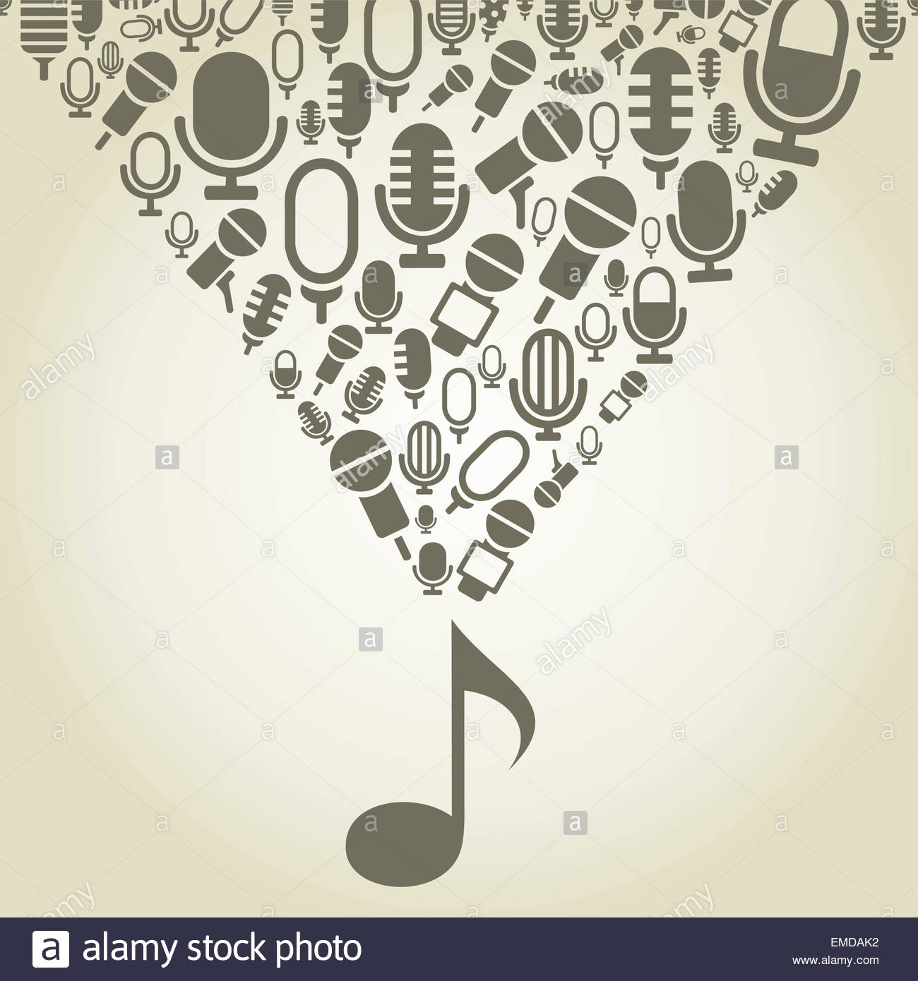 Microphone from the note - Stock Vector