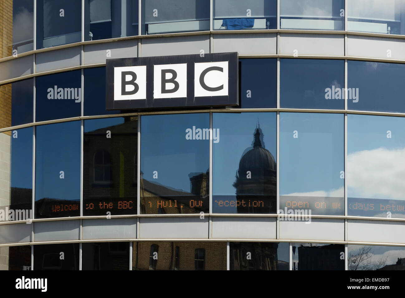 The BBC Hull city centre office in the Queens Court building - Stock Image