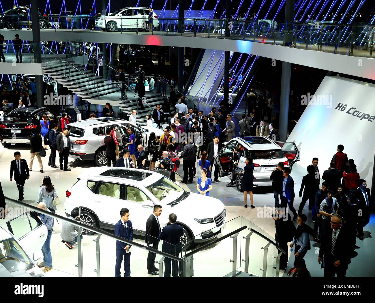 Shanghai, China. 20th Apr, 2015. People visit the Auto Shanghai 2015 in east China's Shanghai, April 20, 2015. A Stock Photo