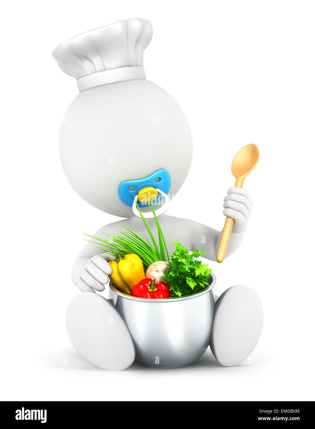 3d white people baby cooks, isolated white background, 3d image Stock Photo