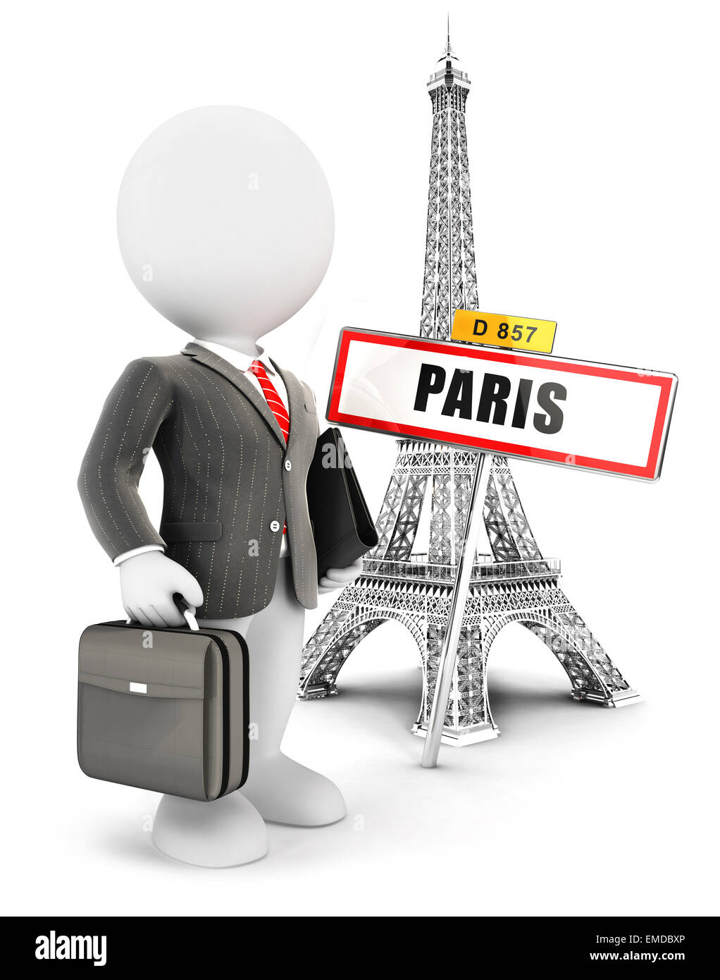 3d white people businessman in Paris, isolated white background, 3d image Stock Photo