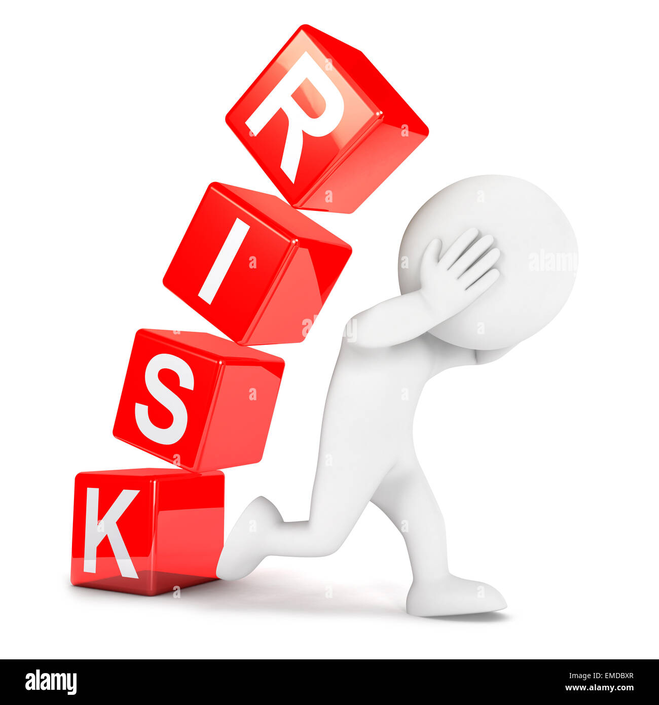 3d white people risk, isolated white background, 3d image Stock Photo