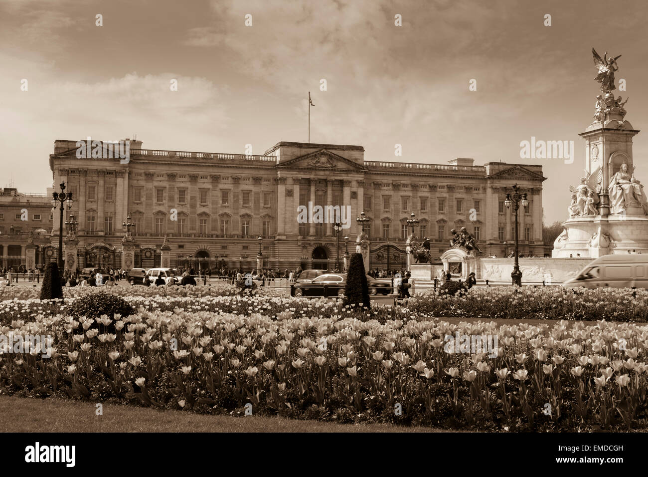 A sepia Landscape view of Buckingham Palace in the Spring time with an antique sepia tone look City of Westminster - Stock Image
