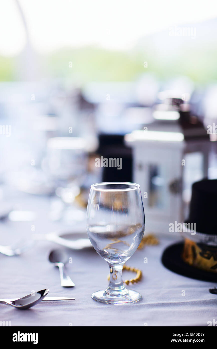 Table setting for Christmas party - Stock Image