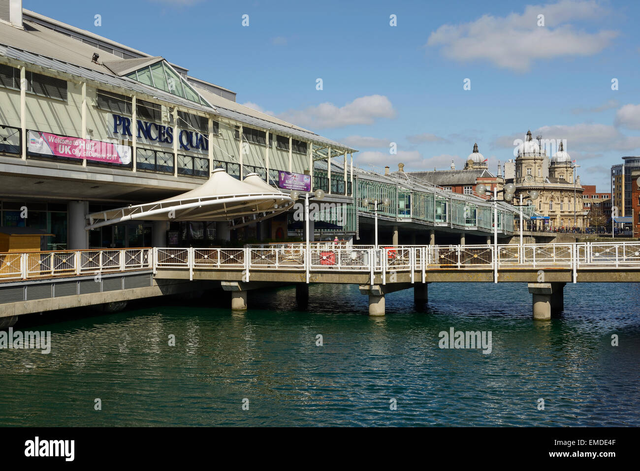 The Princes Quay Shopping Centre overlooking Princes dock in Hull city centre UK - Stock Image