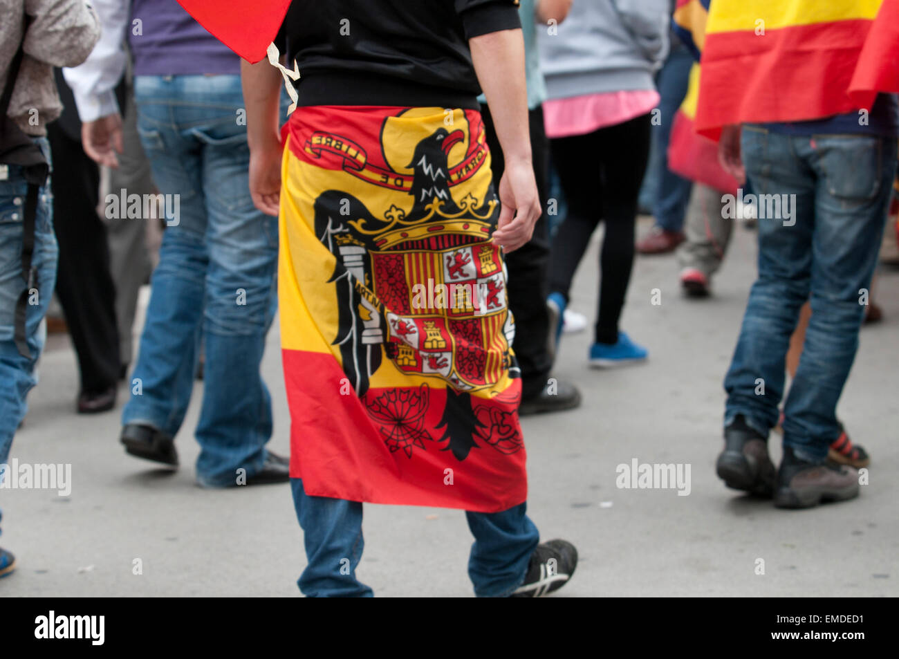 Barcelona, Spain. 12th Oct, 2014. Demonstrators doing the fascist salute during the Spanish Ultra Nationalism speech - Stock Image