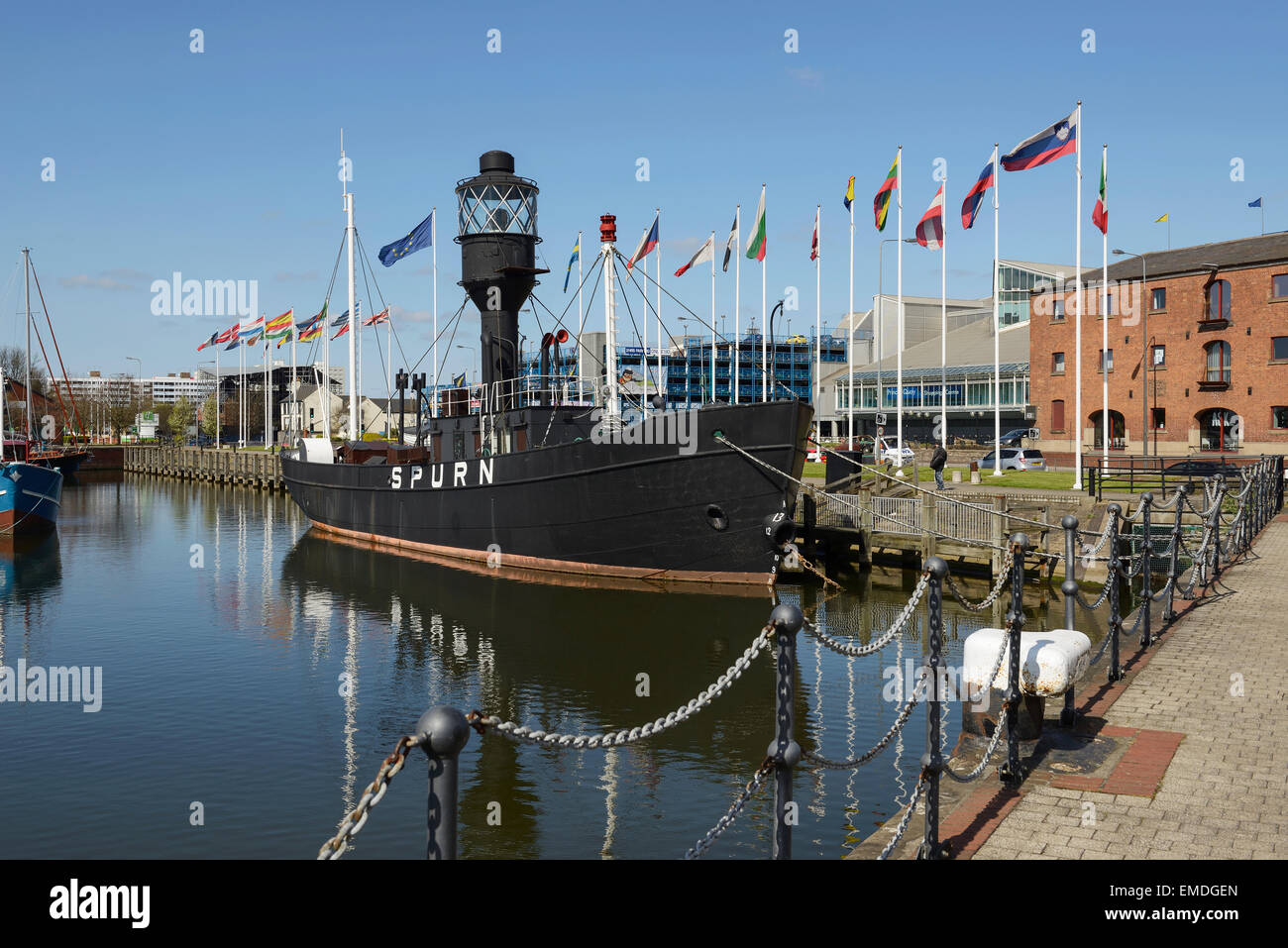 The Spurn Lightship in Hull Marina UK - Stock Image