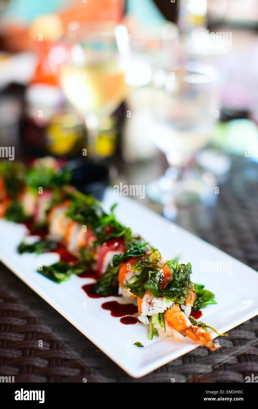 Japanese cuisine sushi rolls - Stock Image