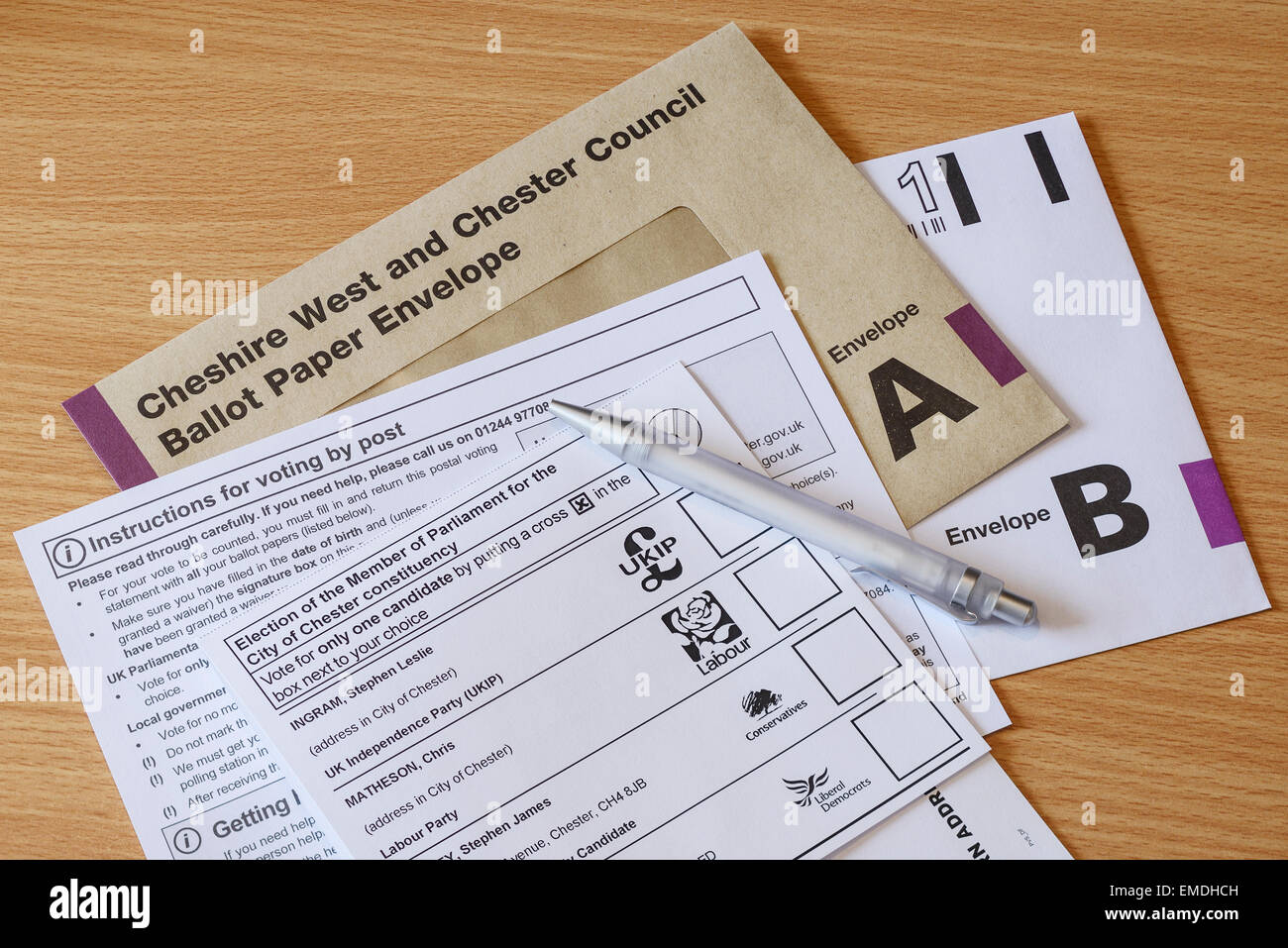 UK General Election on 7th May 2015. Postal voting forms have been sent out for the City of Chester constituency. - Stock Image