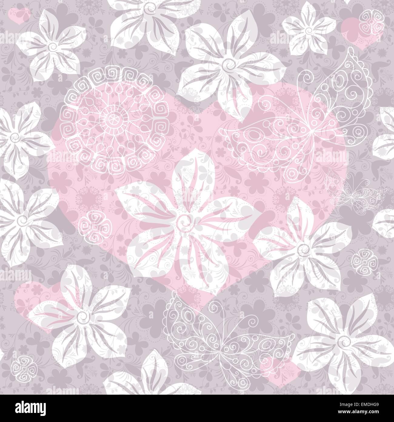 Seamless gentle valentine pattern - Stock Image