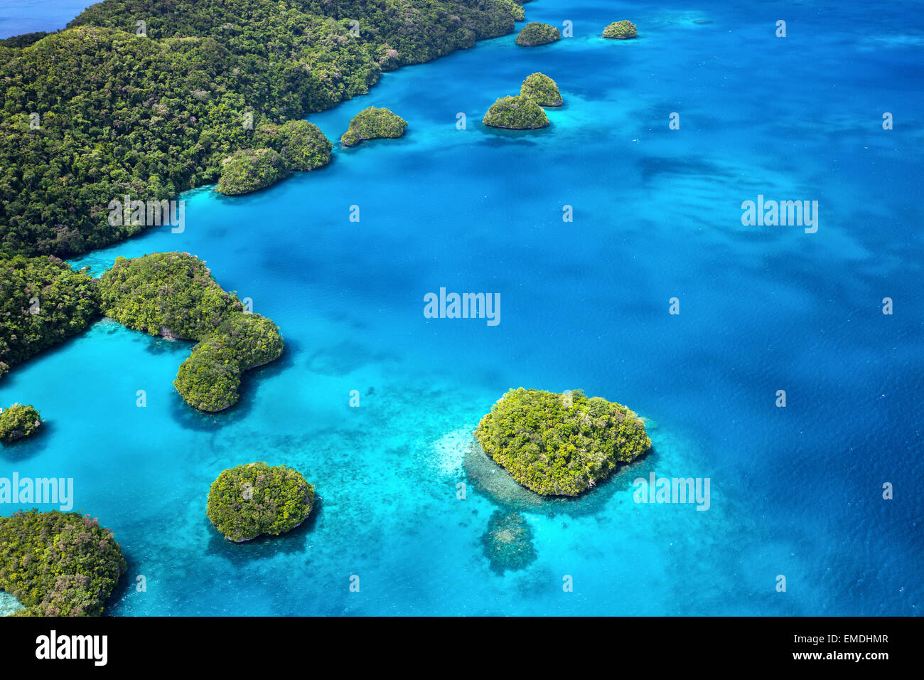 Palau islands from above - Stock Image