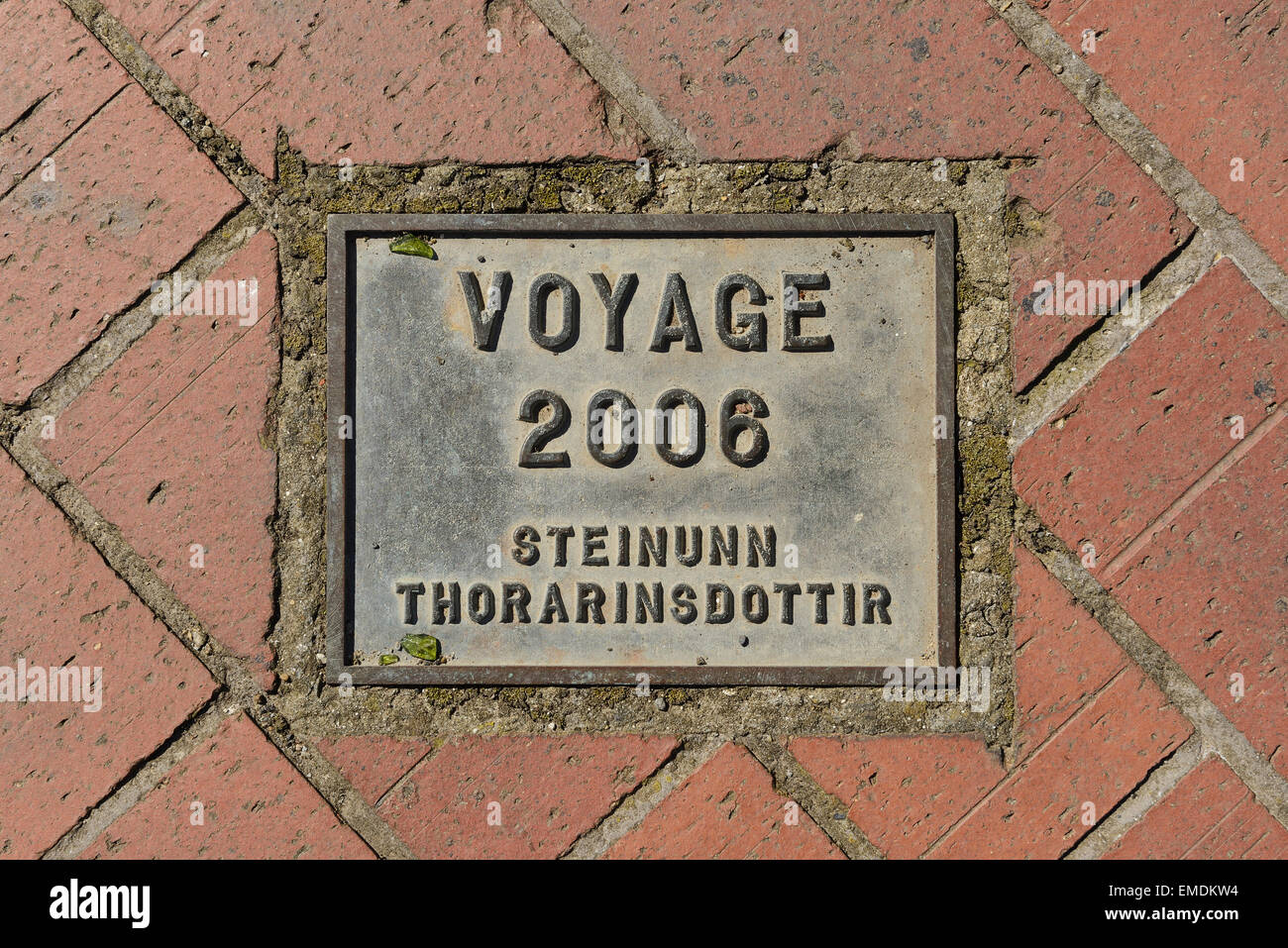 The metal plaque for the Voyage statue that overlooks the Humber Estuary in Hull UK - Stock Image