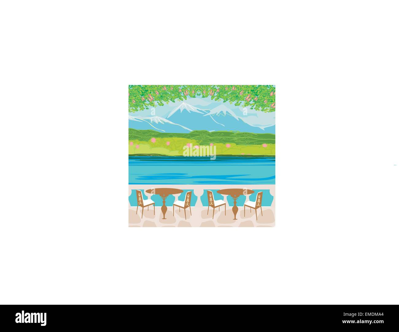 Vector landscape with mountains and cafe tables - Stock Image