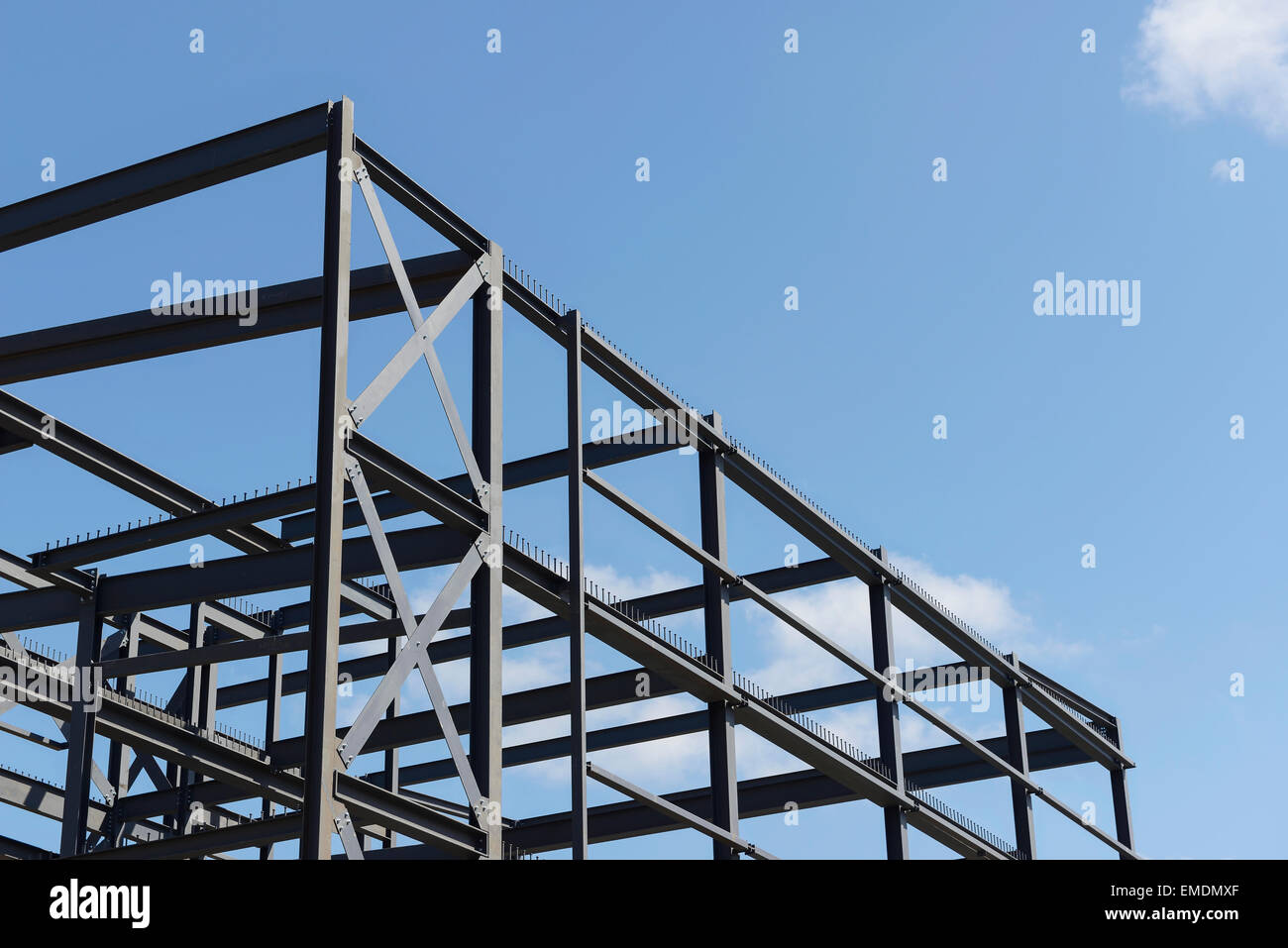 Steel frame construction on a new commercial building - Stock Image